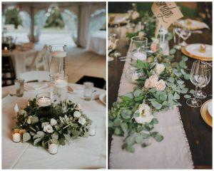 Eukaliptus w dekoracjach stołu weselnego